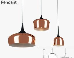 Polk Pendant Light Bronze 3D