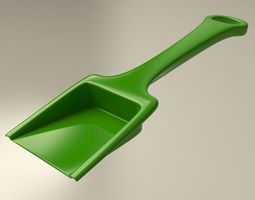 Green plastic sand shovel toy for kids 3D