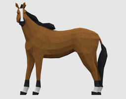 Horses 3D model game-ready
