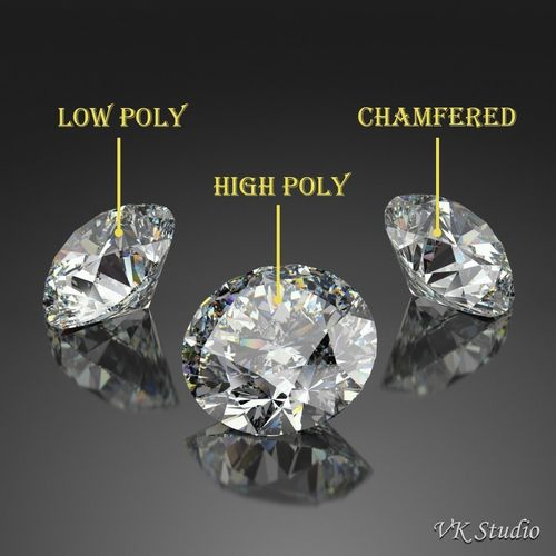 round diamond brilliant faceting ideal cut 3d model low-poly max obj mtl 3ds fbx c4d ma mb 1