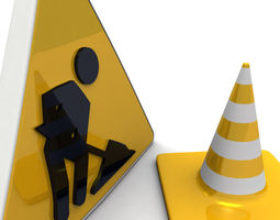 3d under construction sign