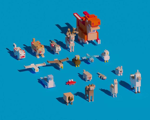 low poly amimals pack - cartoon crossy road 3d model max obj mtl fbx c4d ma mb blend 1