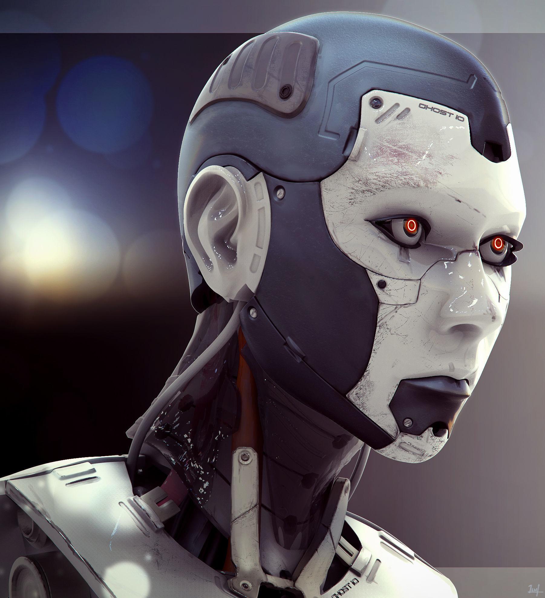 High Poly Female Cyborg Head