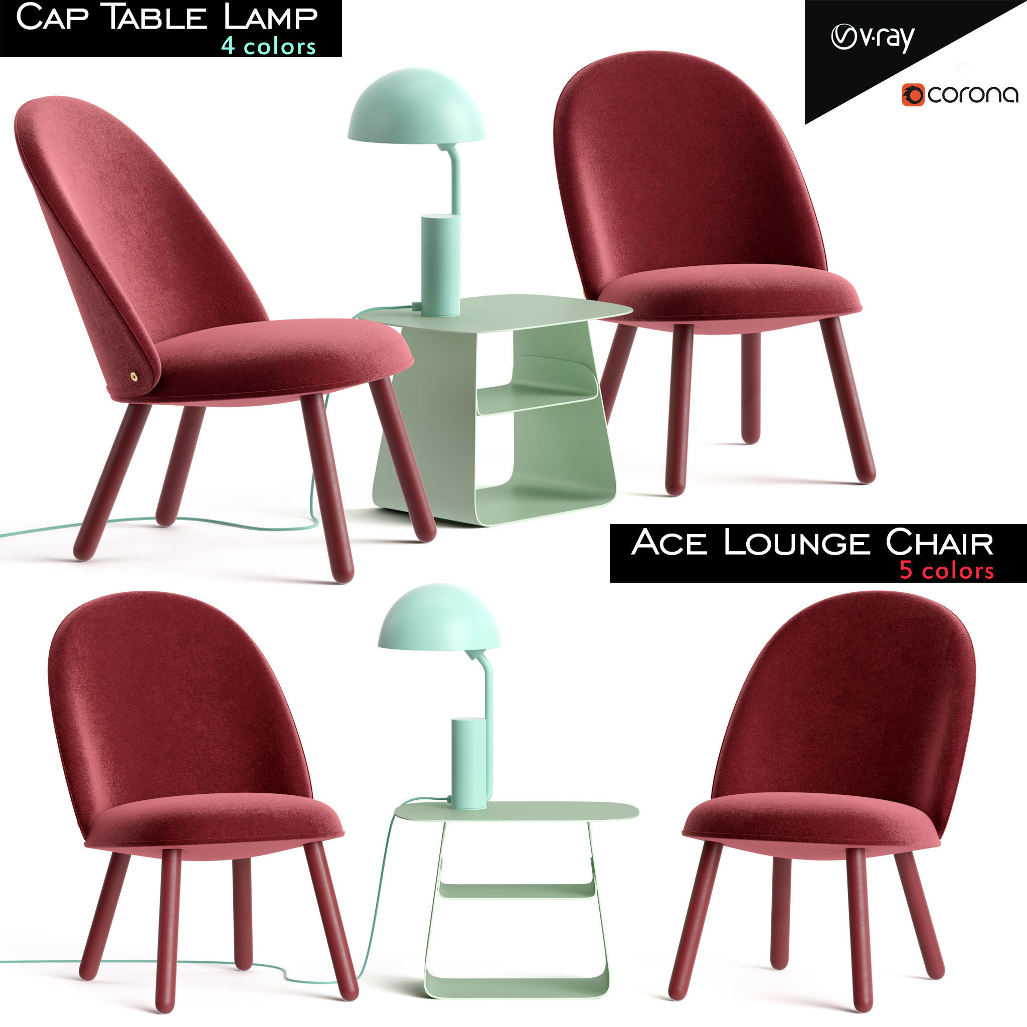 Ace Lounge Chair and Cap Table Lamp
