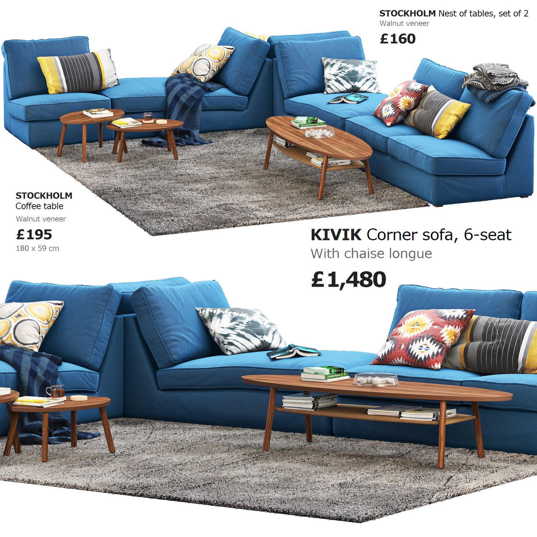 Remarkable Ikea Kivik 6 Seat Corner Sofa 3D Model Inzonedesignstudio Interior Chair Design Inzonedesignstudiocom