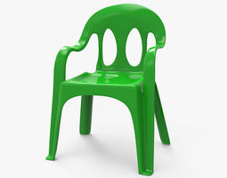 Low Poly Plastic Chair 3D model