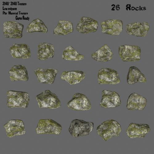 mossy rock set 1 3d model low-poly obj mtl fbx blend 1