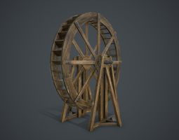 3D asset low-poly Water Wheel