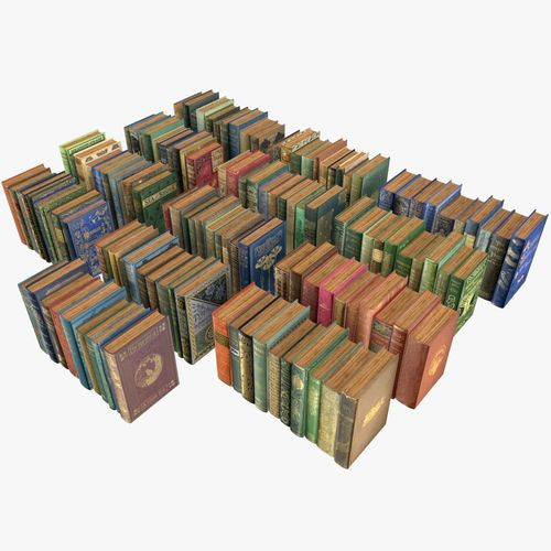 old books collection 4 --- 130 books 3d model low-poly obj mtl 3ds fbx blend dae 1
