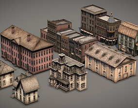 3D model Victorian Old Style Low Poly Buildings Collection