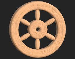 Cartoon wooden wheel 1 3D asset
