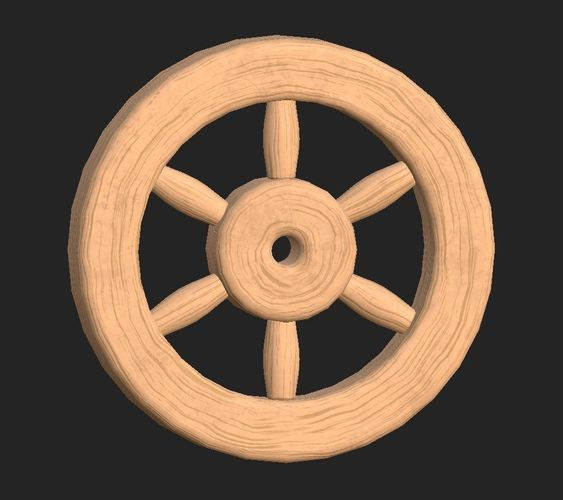cartoon wooden wheel 1 3d model obj mtl fbx 1