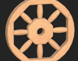 cartoon wooden wheel realtime 3d model