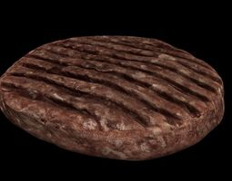 3D asset Raw Hamburger