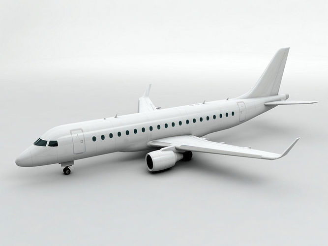 embraer erj 175 - generic white 3d model low-poly max obj mtl 3ds dxf stl wrl wrz 1