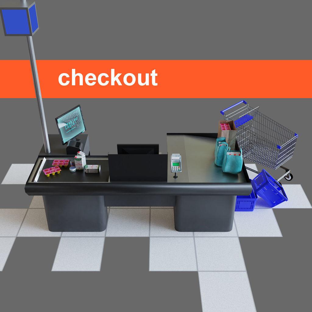 Checkout counter desk for grocer supermarket store