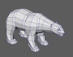 Polar Bear Low poly Print ready 3D model