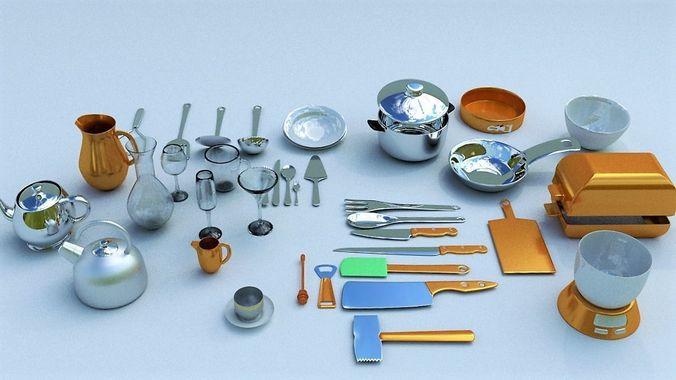 kitchen accessories 3d model obj mtl 3ds fbx stl blend dae 1