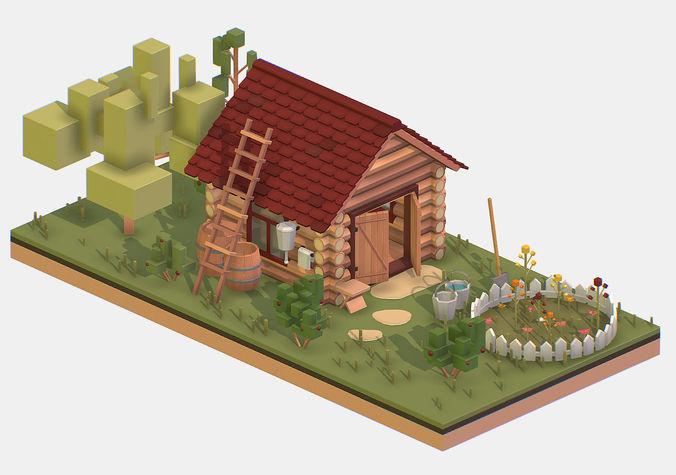isometric village wood garden depot hangar shed 3d model max obj mtl fbx ma mb 1