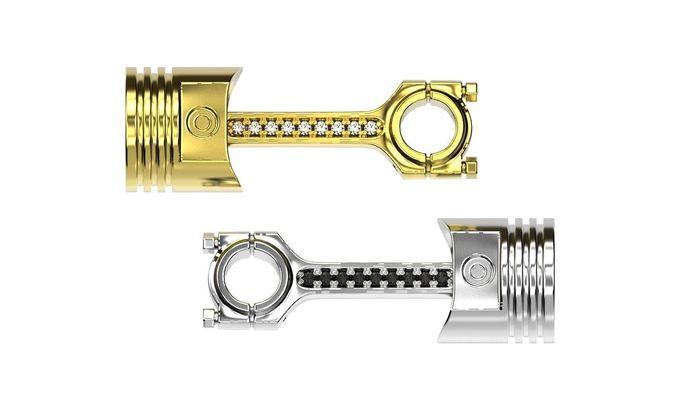 piston rod gold pendant 3d printable engine necklace stl file  3d model obj mtl fbx stl 3dm 1