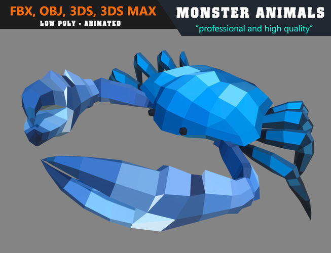 low poly crab cartoon 2 animated - game ready 3d model low-poly max obj mtl 3ds fbx 1