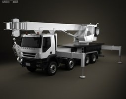 Iveco Trakker Crane Truck 4-axis 2012 3D