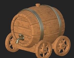 3D asset Cartoon wooden barrel 3