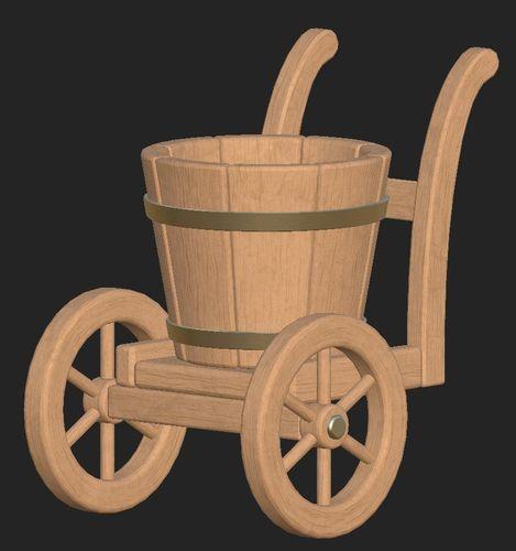 cartoon wooden bucket on wheels 3d model obj mtl fbx 1