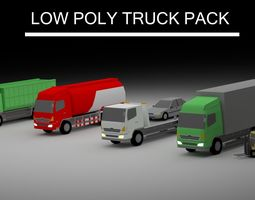 3D model Low Poly Truck Pack