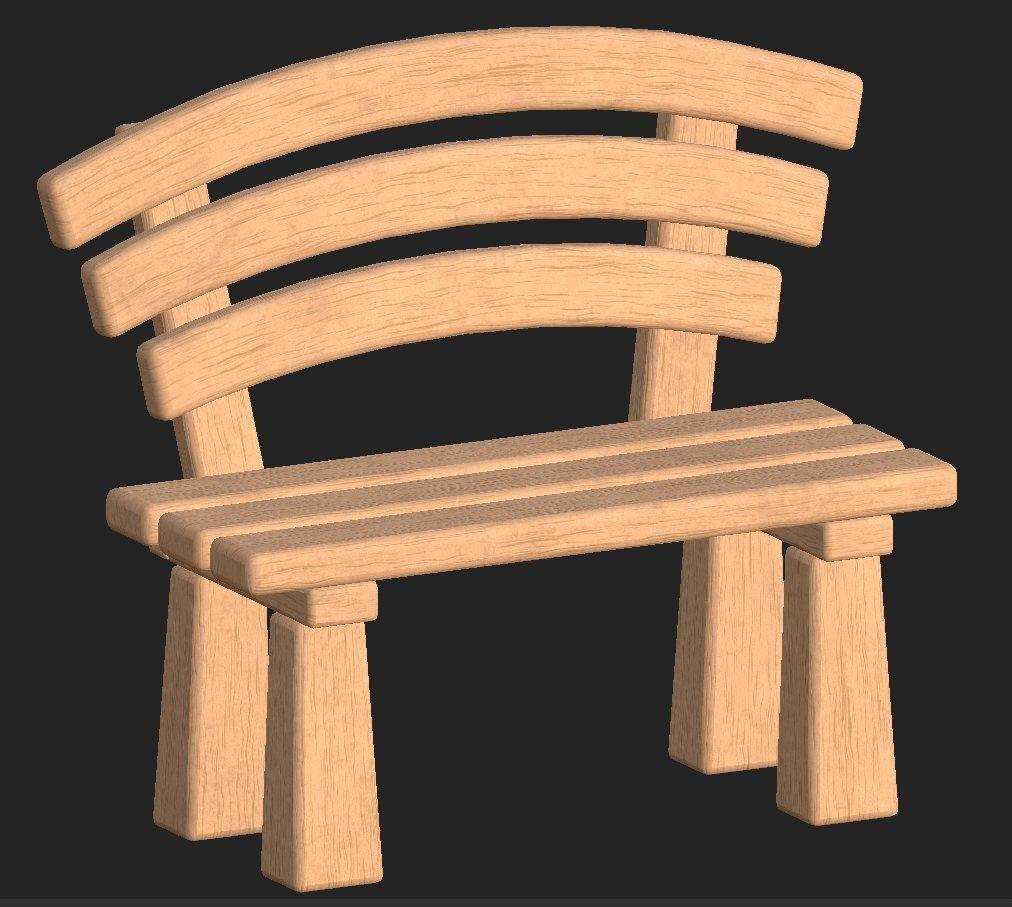 Cartoon wooden bench 1