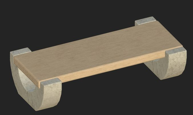 cartoon wooden bench 5 3d model obj mtl fbx 1