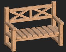 Cartoon wooden bench 7 3D model