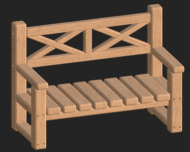 cartoon wooden bench 7 3d model obj mtl fbx 1