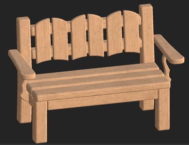 cartoon wooden bench 8 3d model obj mtl fbx 1