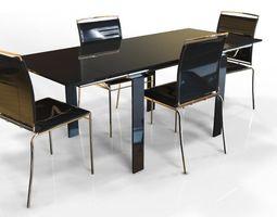3D model dark Dinner Table