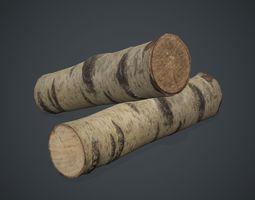 3D asset Birch Firewood 1 PBR Game Ready