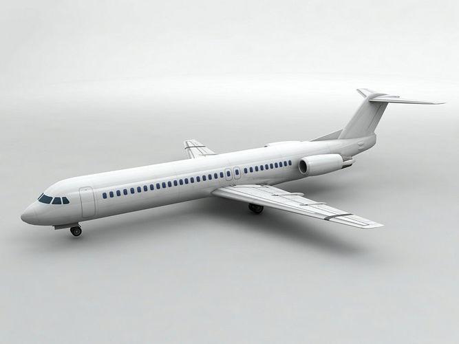 fokker 100 airliner - generic white 3d model low-poly max obj mtl 3ds dxf stl wrl wrz 1