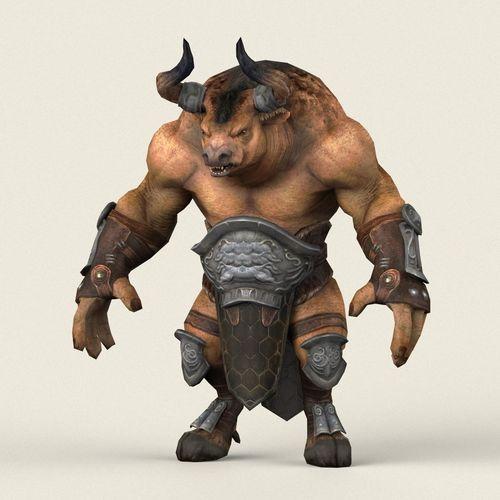 game ready warrior bull 3d model low-poly max obj mtl fbx c4d ma mb 1