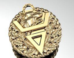 pendant with a bear oak leaves 3D model
