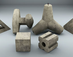 Set of Concrete breakwater blocks 3D model