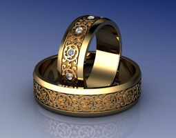 3D print model Knot Wedding Rings with Diamond