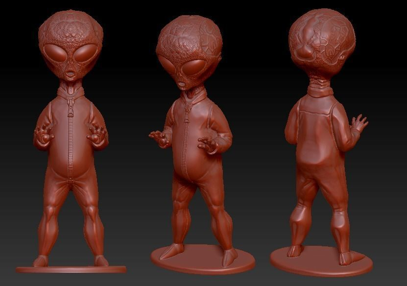Grey Alien figure with stand