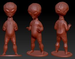 Grey Alien figure with stand 3D printable model