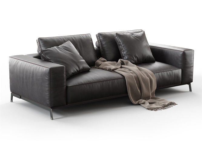 ettore 2 seater sofa 3d model max obj mtl 3ds fbx c4d 3dm 1