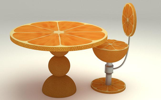 Orange kitchen table 3d cgtrader for Kitchen set orange