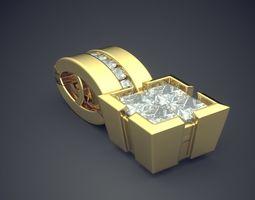 pendant with diamonds cad-5932 3d print model