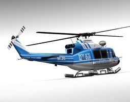 police bell 412 helicopter 3D Model