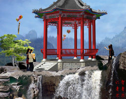 chinese the octagonal pavilion 3d models