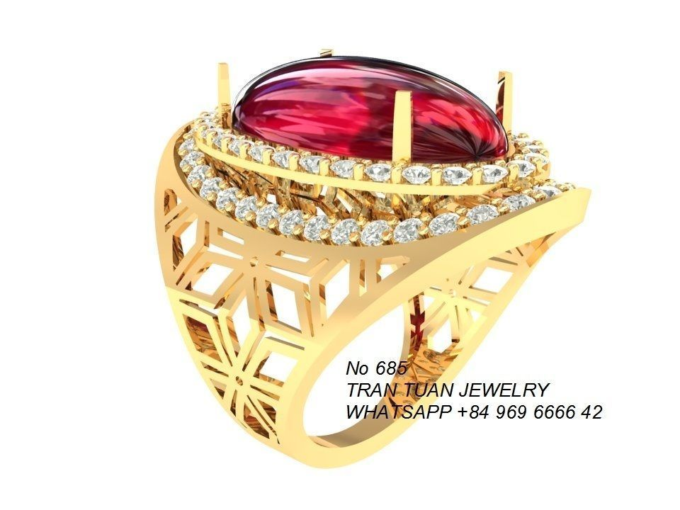 685 Luxury Ruby Ring 3d Print Model Cgtrader