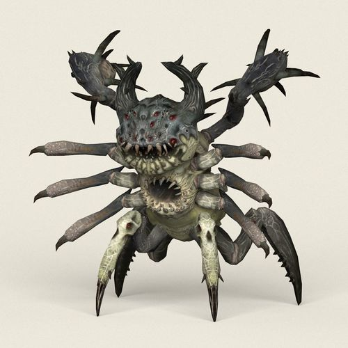 game ready monster spider 3d model low-poly max obj mtl fbx c4d ma mb 1